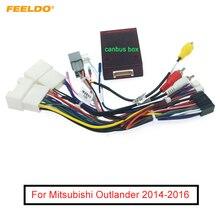 FEELDO – harnais de câblage Audio 16 broches avec boîte Canbus, adaptateur de fil dinstallation stéréo pour Mitsubishi Outlander Aftermarket