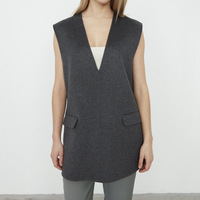 2020 Autumn Winter Women's Woolen vest Lady V neck Sleeveless Side Split Sweater Pullover Top