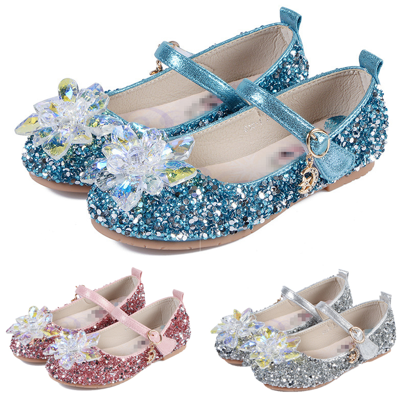 Anna Elsa Crystal Shoes Summer Wedding Party Wear Fancy Cinderella Shoes Halloween Cosplay Princess Stage Dance Sandals