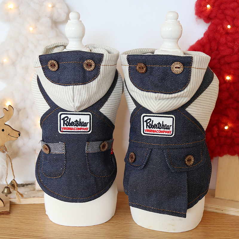 Dog Clothes Denim Striped Cat Dog Dress Jacket Vest Cotton Coat PET Clothing For Dogs Pet Winter Products Puppy Teddy Chihuahua