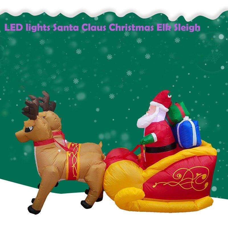 Светодиодный светильник Санта Клаус, Рождественский олень, сани, надувной Рождественский олень, светодиодный, для двора, торгового центра, ...