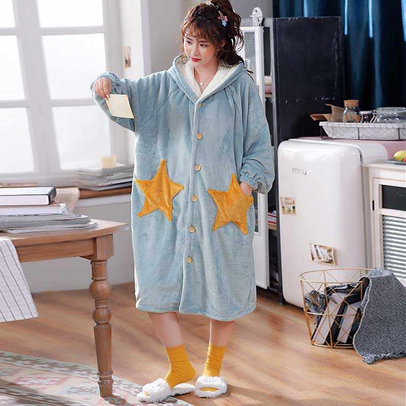 Hooded Night Robe Winter Coral Fleece Cartoon Star Bathrobe Over Size Flannel Button Nightgown Women Thickening Pajamas