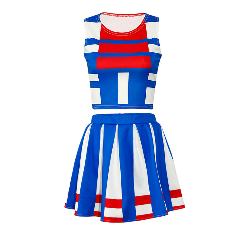 Summer New Style Cheerleading Clothing Women's Adult Fitness Exercise Square Dance Costume Sports Dress Outfit Tz117