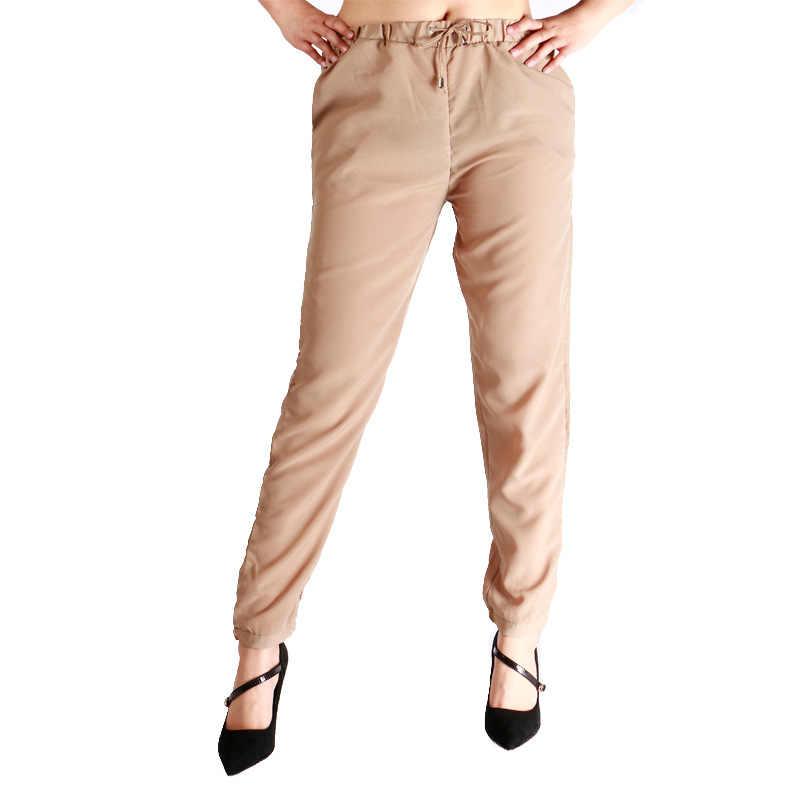 Verão algodão chiffon calças de comprimento do tornozelo feminino cor sólida solto fino linho calças casuais cinza preto rosa drawstring