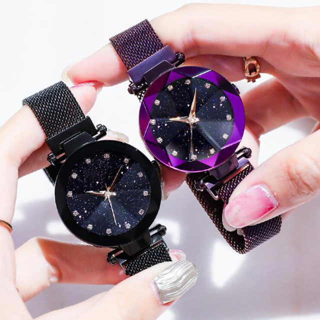 Luxury Starry Sky Stainless Steel Mesh Bracelet Watches For Women Crystal Analog Quartz Wristwatches Ladies Sports Dress Clock 2