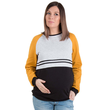 Maternity Womens Nursing Stripe Long Sleeve Round Neck Breastfeeding T-shirt Autumn Winter Breast Feeding Tops Patchwork Tees