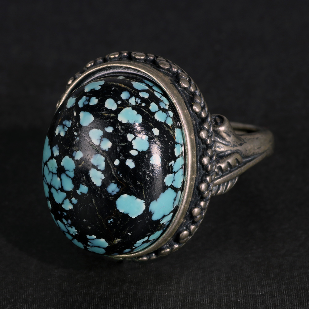 Genuine Solid Silver Sterling 925 Ladies Rings Oval Turquoise Gemstone Statement Ring Jewelry Luxury Adjustable Size Wholesal
