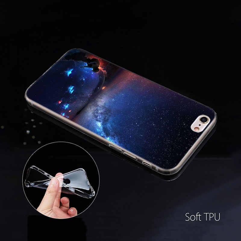 Girassol Céu Estrela Case para Apple iphone 11 XS Pro Max XR X 7 8 6 6S Plus 5 5S SE 5C Flores De Silicone Telefone Coque Capa Carcasa