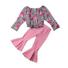 Emmamaby 2 piezas niños bebés niñas Floral Tops sólidos pantalones campana-bottoms conjunto de ropa