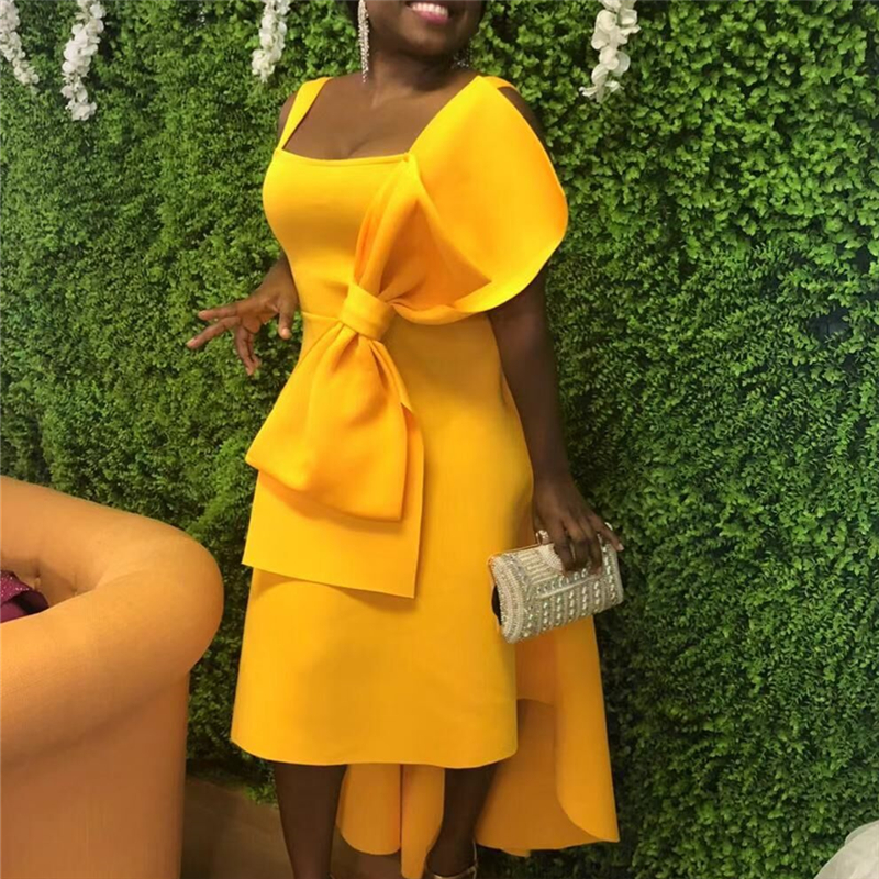 Yellow Stylish Occassion Dresses Big Bow Tie High Low Flare Pleated Party Celebrate Event Ladies Robe Dated Night Dinner Dresses