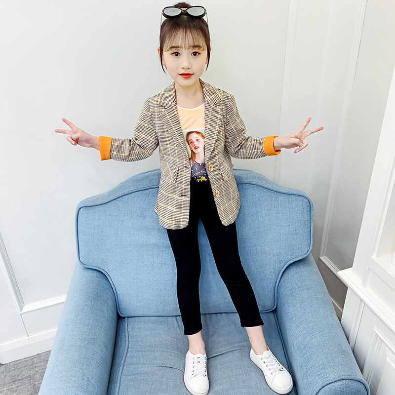 Children's Blazer For Teenage Girl Long Sleeve Cardigan Plaid Blazers Student School Uniform Outerwear Girls Casual Coat Costume 5