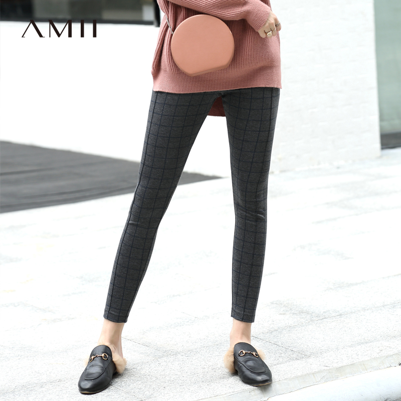 Amii Minimalist Plaid Leggings Winter Women Solid Slim Female Long Pants 11820146