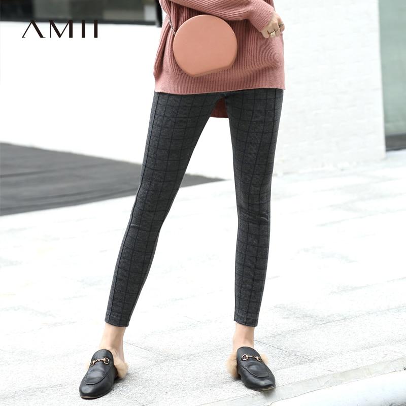 Amii Minimalist Plaid Leggings Winter Women Solid Slim Female Long Pants 11820146