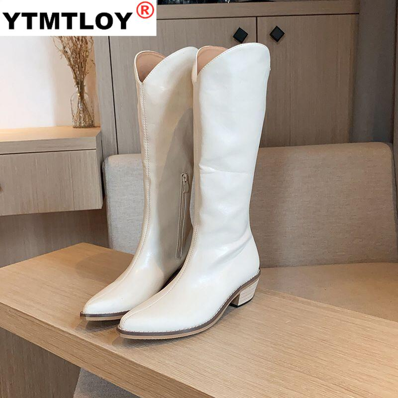 2020 New PU Leather Women Knee High Boots Low Heel Western Cowboy Boots Women Boots Shoes Female Winter Boots Zipper Size 35 43