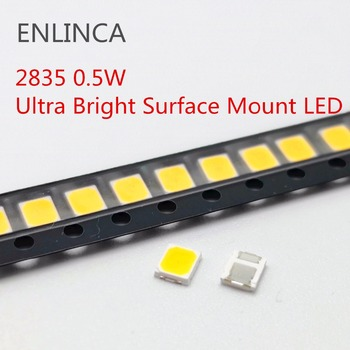 100 sztuk SMD LED 2835 biały układ 0 5 W 3V 6V 9V 18V 50-55LM Ultra jasne diody LED do montażu powierzchniowego dioda elektroluminescencyjna lampa tanie i dobre opinie ENLINCA Nowy 3528 0 5W LED 3V 6V 9V 18V 0 5W 3v-18v