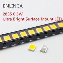 100 sztuk SMD LED 2835 biały układ 0 5 W 3V 6V 9V 18V 50-55LM Ultra jasne diody LED do montażu powierzchniowego dioda elektroluminescencyjna lampa tanie tanio ENLINCA Nowy 3528 0 5W LED 3V 6V 9V 18V 0 5W 3v-18v