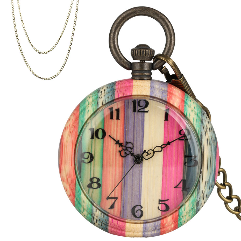 Novel Colorful Bamboo Wood Quartz Pocket Watch Arabic Numerals Round Dial Full Wooden Pendant Pocket Clock Men Women With Chain