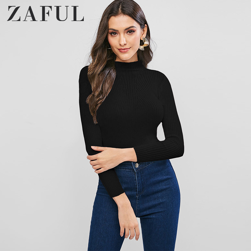ZAFUL High Neck Plain Slim Pullover Sweater For Women Tops Autumn 2019 Mock Neck Solid Color Long Sleeve Slim Tees Simple Style