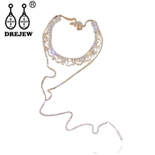 DREJEW Brand Gold Silver Crystal Pendant Choker Long Exquisite Pearl Rhinestone Necklaces Sets for Women Statement Jewelry HN392