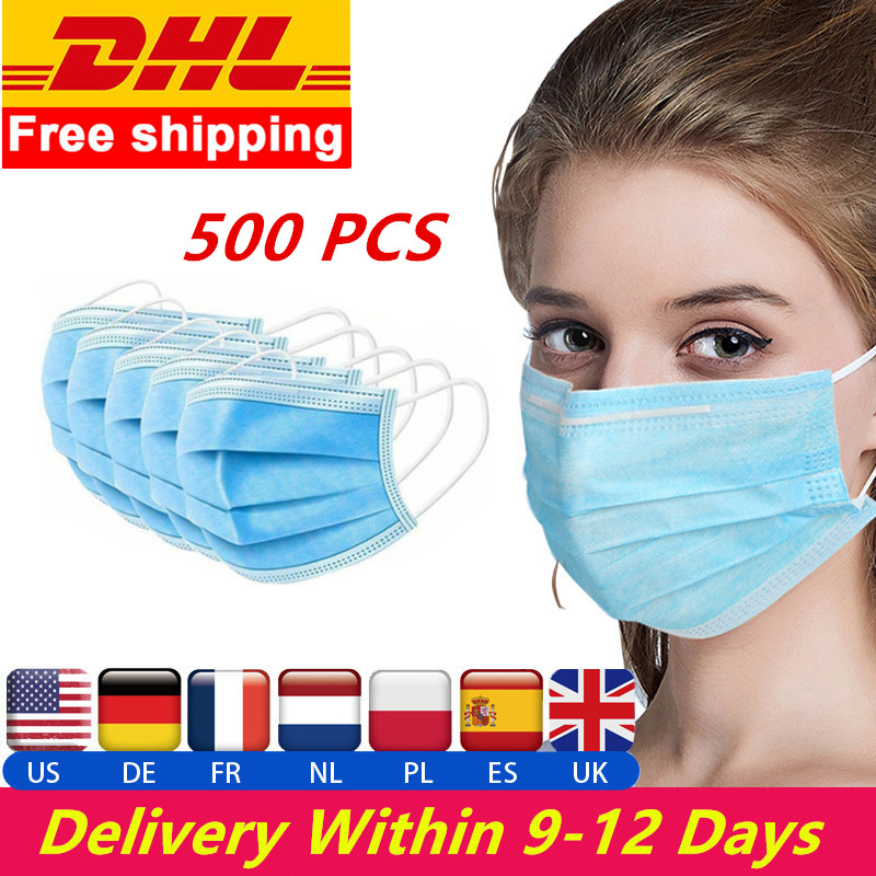 DHL 500PCS Disposable Mask Protective Face Mouth Mask Anti Dust For Adults Kids Safety Mask Fast Shipping Dropshipping Wholesale