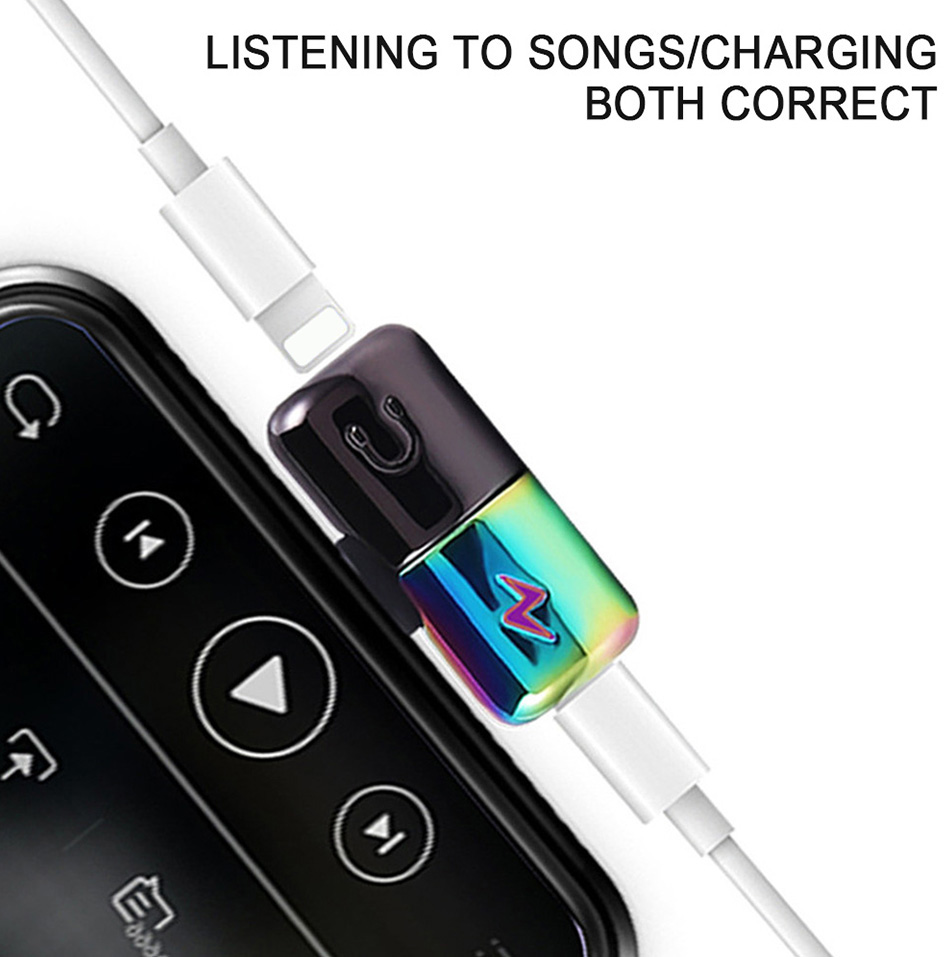 !ACCEZZ Mini Adapter For iphone X 8 7 Plus XS Max XR Headphone Adaptador For iphone Single Jack Charge Call Listen AUX Splitter (2)