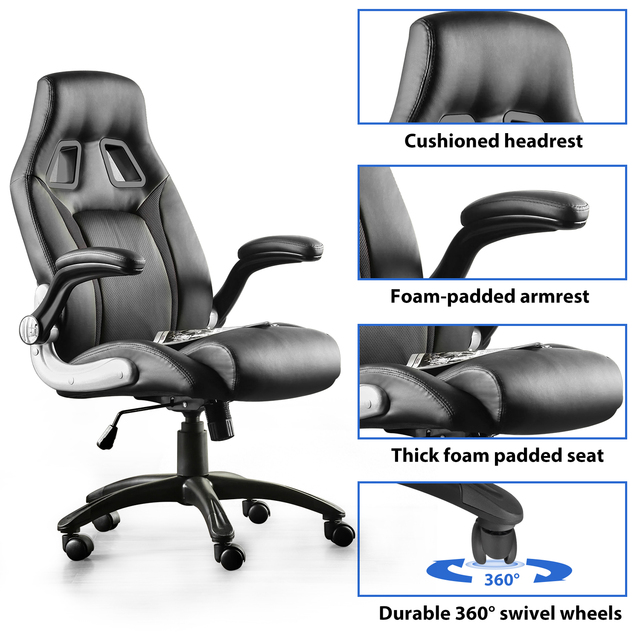 Furgle PU leather Office Chair 360° Swivel Gaming Chair with Comfortable Foam-padded Armrest Waterproof for Office Furniture 4
