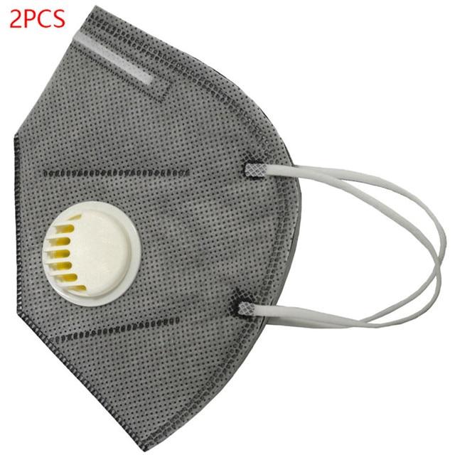 2PCS/Set N95 PM2.5 Respirator Face Mask Anti Flu Prevention Dust Pm 2.5 Filter Breathing Valve Mouth Masks 2