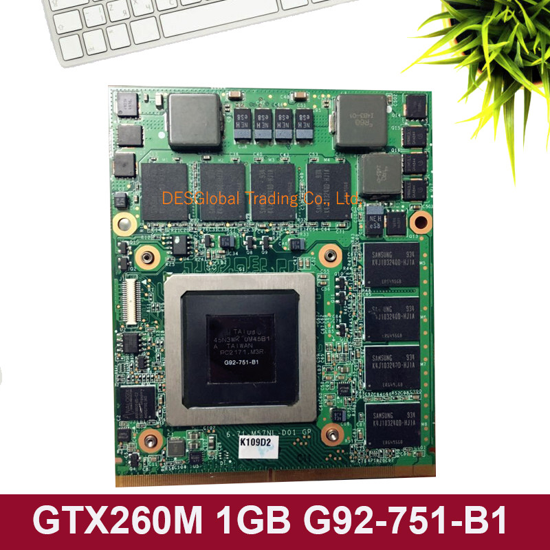GTX 260M GTX260M 1GB WDXVH G92-751-B1 P/N: 0WDXVH 96RJ4 VGA Video Card for Dell Alienware M15X M17X R1 Fully Tested 100% Working image