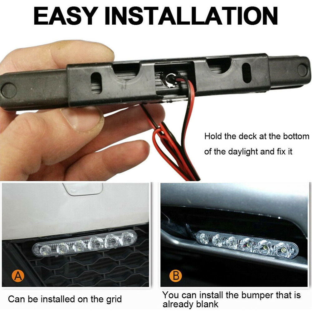 Купить с кэшбэком Universal 12V 6W LED Car Daytime Running Light DRL Fog Lamp Day Lights Daylight Anti-dust Anti-collision Anti-splash Safe Light