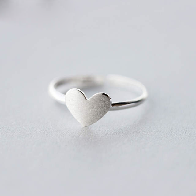 100% Real 925 Sterling Silver Love Heart Rings For Women Adjustable Rings