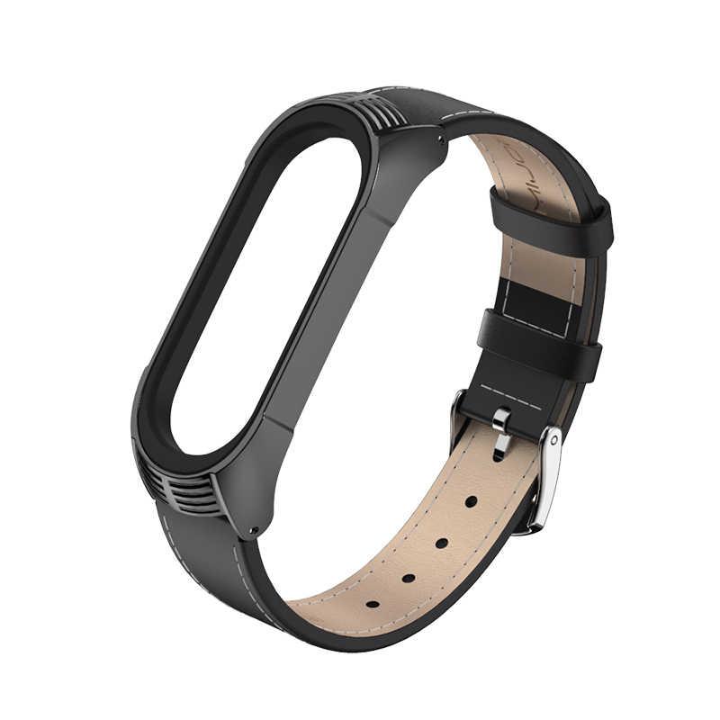 Mi Band 4 حزام جلد طبيعي ل Xiao mi mi الفرقة 3 سوار mi الفرقة 4 3 الأساور نمط جديد حزام mi وظائف تصميم