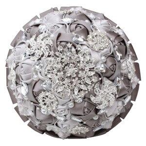 Image 5 - יהלומי משי סרט ריינסטון עלה פרחים מלאכותיים כלה חתונה זר קריסטל פניני שושבינה כסף זרי PL001 D