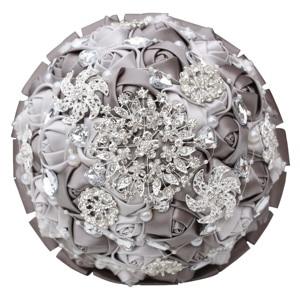 Image 5 - Diamante fita de seda strass rosa flores artificiais casamento nupcial bouquet cristal pérolas dama de honra prata bouquets PL001 D