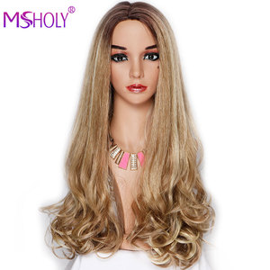 Synthetic Long 2 Tone Ombre Brown Ash Blonde Wigs For Women Highlight wig Wavy Heat Resistant Daily Cosplay Natural Hair Wigs