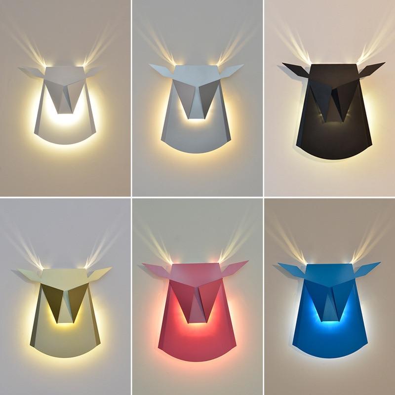 Deer Head Wall Lamp Northern Europe Modern Simple Bedroom Bedside Wall Lamp Corridor Light Luxury Personality Creative Living