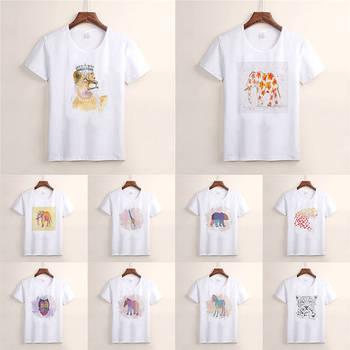 Linda camiseta para Mujer Camisetas de moda para mujer impresión Linda acuarela León elefante búho Camisetas Cool tapas TX65