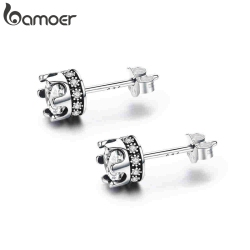 BAMOER High Quality 100% 925 Sterling Silver Princess Crown Luminous Clear CZ Stud Earrings for Women Fashion Jewelry SCE311