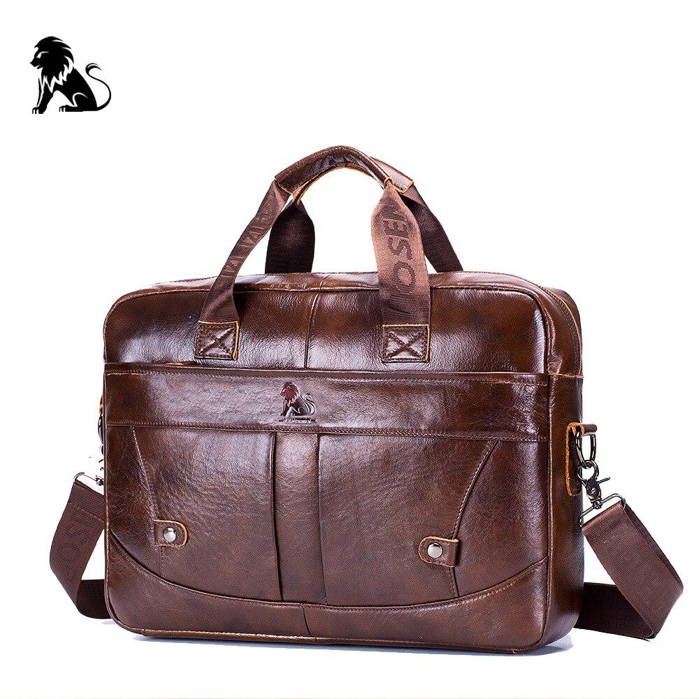New Genuine Leather Men's Business Computer Bag Vintage Briefcase Fashion Messenger Bags Man Shoulder Bag Postman Male Handbags
