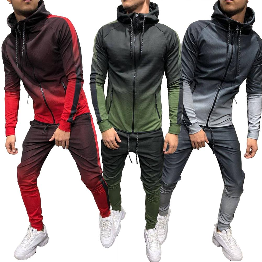 2019 New Fashion Men Gradient Color Sport Sweat Suit Hoodie Trousers Pants Set Tracksuit