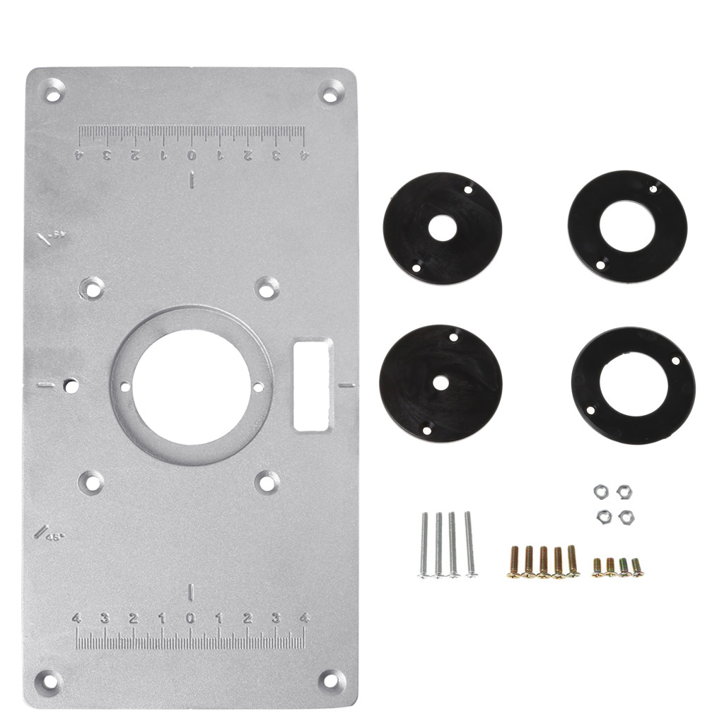 Aluminum Router Table Insert Plate W/ 4 Rings Screws For Woodworking Benches Drop Ship Support