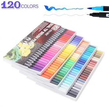 120 Colors Brush Pen Art Markers Watercolor Fine Liner Dual Tip Set For School Supplies Best Effect Drawing And Painting - discount item  22% OFF Pens, Pencils & Writing Supplies