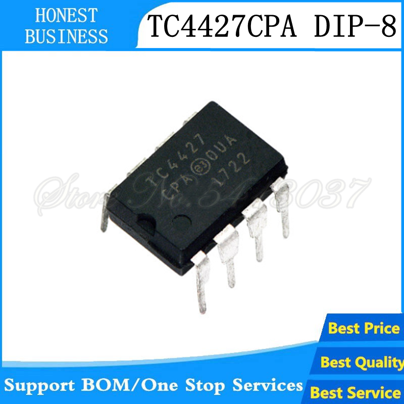 10Pcs TC4427ACPA TC4427A DIP-8 Inline MOSFET Power Driver IC MIC