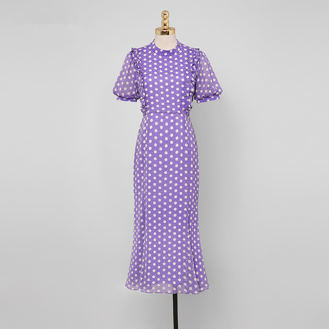 ZAWFL 2020 New French Wood ears Ruffles Polka Dot Dress Vintage Women O-neck Tie Bow Sashes Maxi Chiffon Dresses Holiday 4