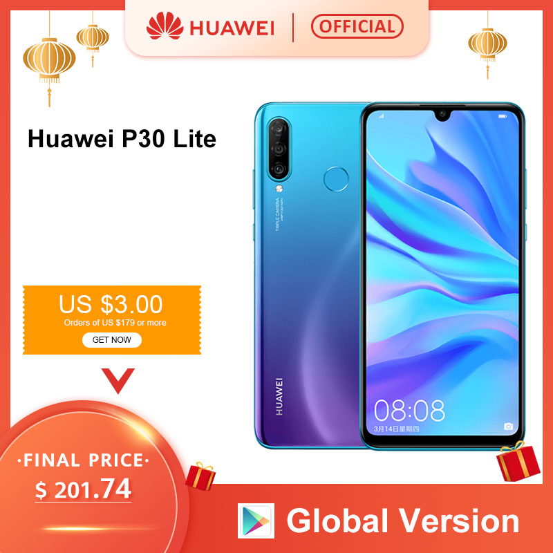 Global Version Huawei P30 Lite 4GB 128GB Smartphone 24MP Triple Cameras 32MP Front Camera 6.15'' Full Screen Kirin 710 18W QC