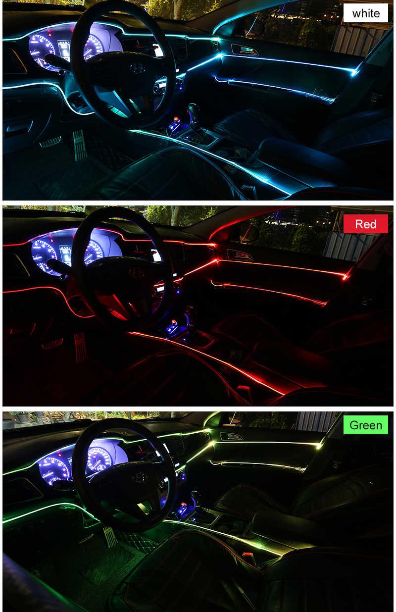 3m EL Línea Fría Flexible luces de coche 12V LED de neón EL cable del coche luz fría tira Interior tiras de moldura para Decoración