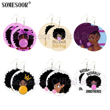SOMESOOR Lovely Black Girl Bubble Gum Printing African Wooden Drop Earrings Big Curly Hair Art Afro Natural Wood For Women Gifts unfinished wood printing africa girl round drop earrings wooden african hiphop tribal handmade diy jewelry natural accessories