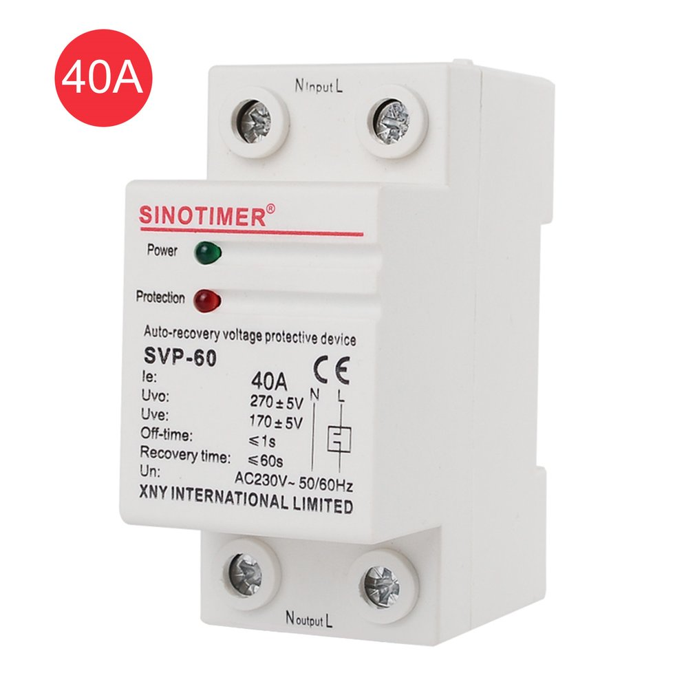 SINOTIMER SVP-60 230V AC 40A Automatic Recovery Under Voltage Over Voltage Protector Relay Breaker Protective Device