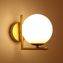 Modern nordic Glass Meta black/gold ball Retro Vintage Wall lamp E27 Loft for cafe Dining bedroom foyer