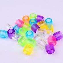 20Pcs Plastic Colorful Transparent Crochet Kids Braids Hair Braid Dread Dreadlock Beads Cuffs Rings Hair Extension
