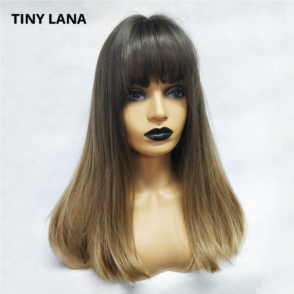 TINY LANA 16 Inch Synthetic Wig With Bangs Natural Headline Ombre Brown Color Fashion Cosplay Party Replacement Wigs For Wome